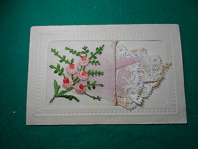 Early 1900's French Ww1 Period Embroidered Silk  Postcard 10.10.18 Verso