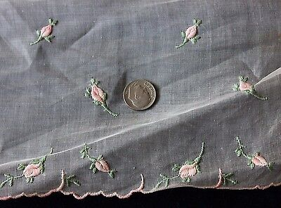 Vintage Swiss Hand Loomed Embroidered Tiny Rose Bud Fabric Samples c1920~Dolls
