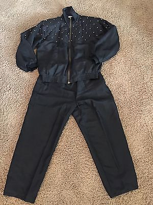 Vtg FuDa Sport Size L 100% Silk Track Suit Pants Jacket Workout Retro Hip Hop
