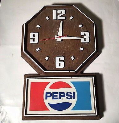 Vintage Pepsi Wall Clock Electric
