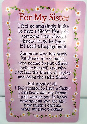 "Heartwarmer Keepsake Message Card ""for My Sister"" With Inspirational Verse"