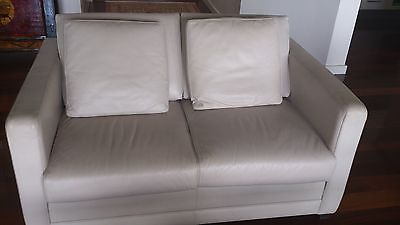 Moran 2 seater leather lounge (off white)
