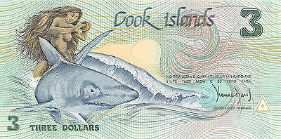 Cook Island  $3 ND. 1987  P 3a  Series ABA  Uncirculated Banknote