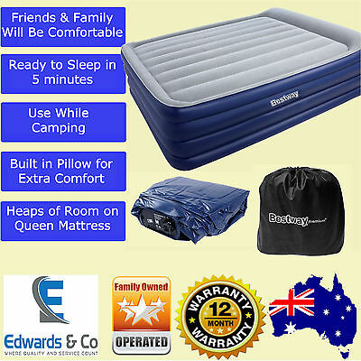 Queen Inflatable Air Bed Built In Pump Blow Up Mattress Camping Sleeping Blue