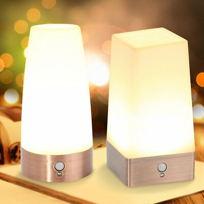 Portable Wireless PIR Sensor LED Night Warm Light Bedroom Table Lamp Room Decor