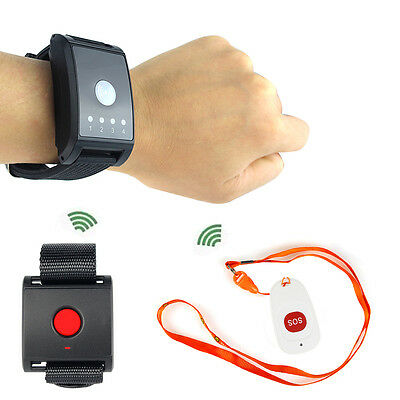 Wireless Calling Paging System Receiver+Call/SOS Button for Patient Kids Hot ES