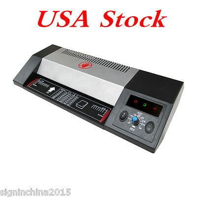 "US Stock-Steel Thermal Laminator A3 A4 Hot & Cold 13"" Machine Roller Pouch Photo"