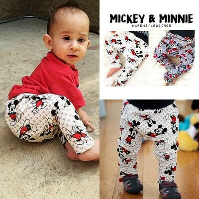 Newborn Baby Boys Girls Trousers Mickey Minnie Mouse Harem Pants Cotton Leggings