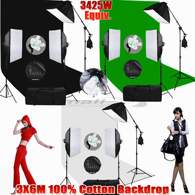 PRO.3x3.6m Green Screen Backdrop Studio Softbox Lighting Soft Box Boom Light Kit