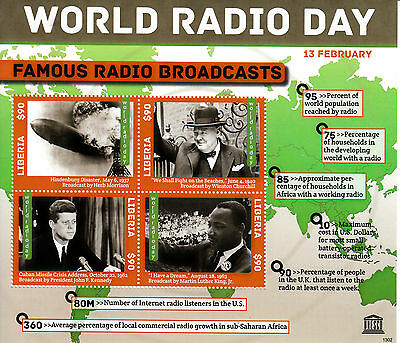 Liberia 2013 MNH World Radio Day Famous Broadcasts 4v M/S Churchill JFK Stamps