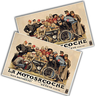 """La Motosacoche Motorcyle Motorized Bicycle Reproduction 11x17"""" Wall Posters"""