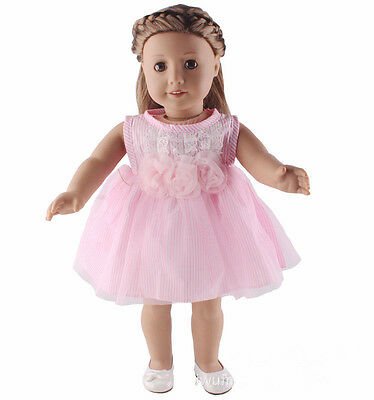 Doll accessories pink dress gown clothes for 18 inch American girl doll