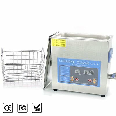 Stainless Steel 6 L Liter Industry Heated Ultrasonic Cleaner Heater w/Timer OUY