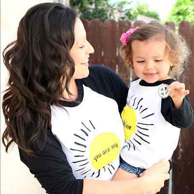 Family Matching Mother Baby Kids T-shirt Tee Tops Long Sleeve Winter Clothes