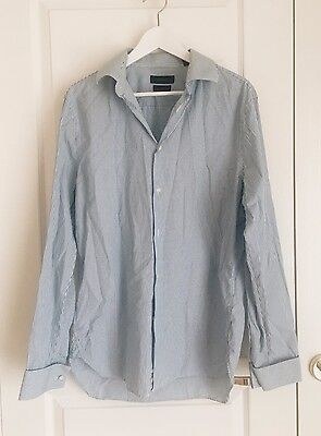 COUNTRY ROAD mens shirt sz L / 42 Tailored Fit blue/white stripe