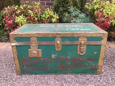Superb Small Industrial Travel Trunk Chest  C- table Vintage Storage Box  Rustic