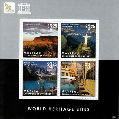 Mayreau Grenadines St Vincent 2013 MNH UNESCO World Heritage Sites 4v M/S Stamps