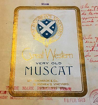 Original 1929 Trademark application for Great Western Very Old MUSCAT