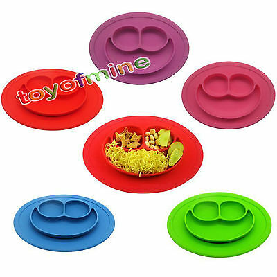 Happy One-Piece Silicone Child Kids Safe Baby Food Divided Bowl Placemat JC