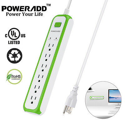 US 6 Outlet Electrical Power Socket Strip W/ Lightningproof Surge Protector Plug