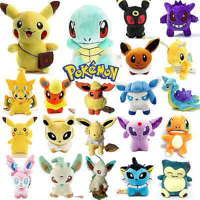 NEW Pokemon Collectible Plush Soft Toys Eevee Pikachu Squirtle Stuffed XMAS Doll