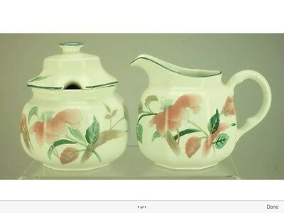 Sugar Bowl with Lid and Creamer Jug in Silk Flowers by Mikasa F3003