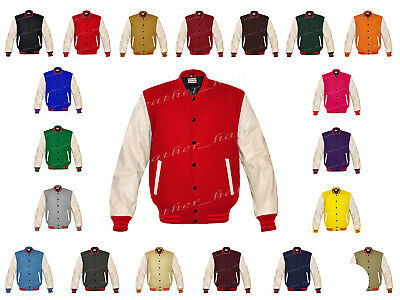 Faux Leather Sleeve Letterman College Varsity Kid Wool Jackets #CRSL-RSTR-BB-