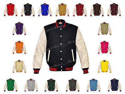 Faux Leather Sleeve Letterman College Varsity Kid Wool Jackets #CRSL-RSTR-CB-