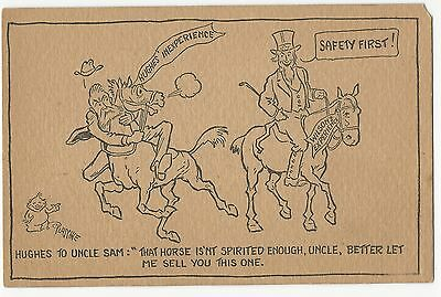 1916 anti-Charles Hughes pro-Woodrow Wilson Safety First Postcard with Uncle Sam