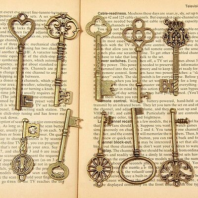 15 Antique Vintage Old Look Bronze Skeleton Key Heart Bow Necklace Pendant Charm