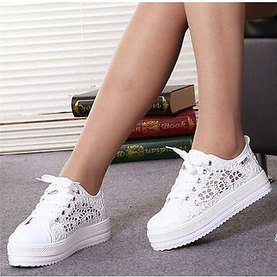 Womens Breathable Lace Up Mesh Trainers Platform Wedge Heel Sneakers Shoes - CB