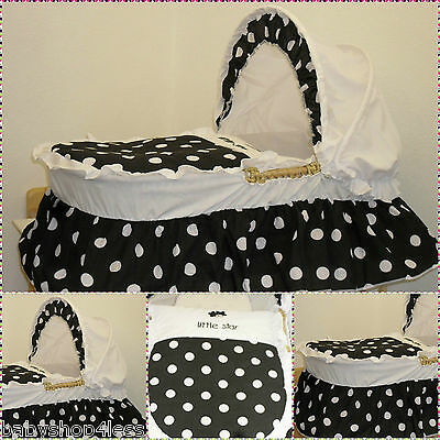 Replacement Moses Basket Dressing Covers Bedding Black White Spot Cotton Mix