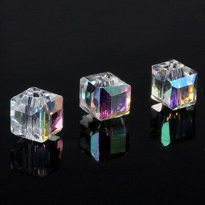 Wholesale 20pcs DIY Jewelry Glass Crystal Cube Beads Spacer For Craft Making