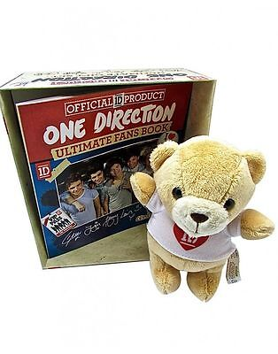 One Direction Ultimate Gift Set Official 1D Soft Toy Bear & Ultimate Fans Book