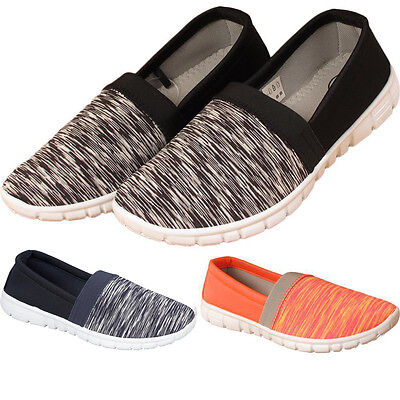 New Womens Ladies Slip On Sports Jogging Running Fitness Gym Trainers Shoes UK