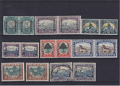 South Africa KGV/KGVI Officals Pairs Singles Mounted Mint Collection (5)