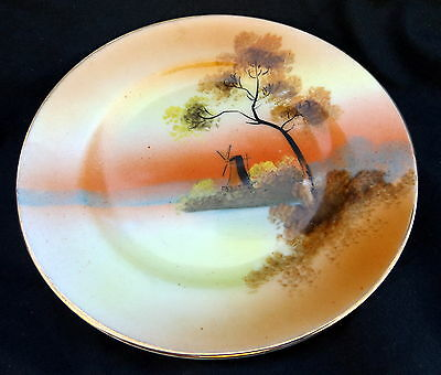 Oriental SidePlate With A Windmill And Sunset Design. Size 13 cm.