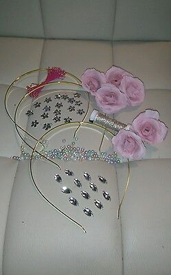 X 3 Tiara making kit with pretty pink roses and jewels.