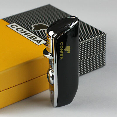 New COHIBA Black Metal 3 TORCH JET FLAME CIGAR Cigarette LIGHTER W/ PUNCH GIFT