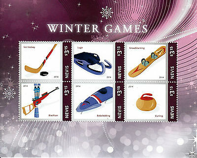 Nevis 2014 MNH Winter Games I 6v M/S Olympics Ice Hockey Luge Curling Stamps