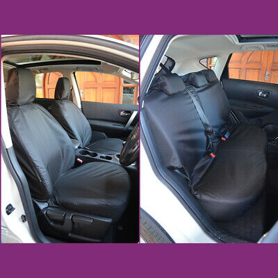 Tailored Waterproof Front & Rear Black Seat Covers Fits Nissan Qashqai 2007-2013
