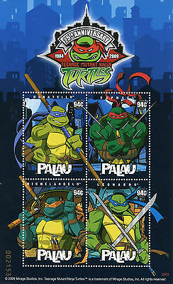Palau 2009 MNH Teenage Mutant Ninja Turtles 25th Anniv 4v M/S TNMT Stamps