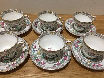 Antique Aynsley England A1173 Indian Tree Set 6 Cups & Saucers Fine Bone China