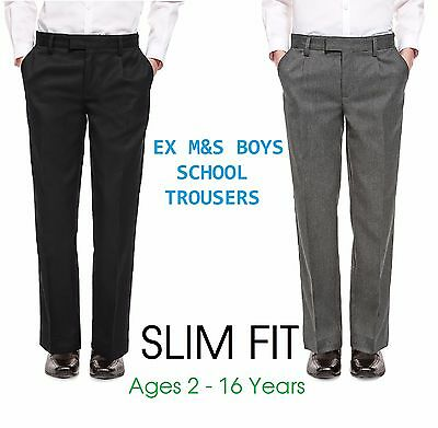 Ex M&S Boys Black Grey School Trousers Slim Fit  Age 2-16 Skinny Fit