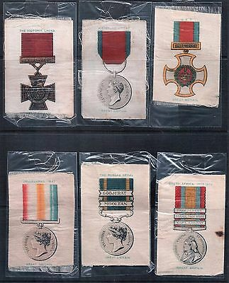 Lot of 6 Vintage Cigarette Silk Trading Cards Military Medals GB and Colonies