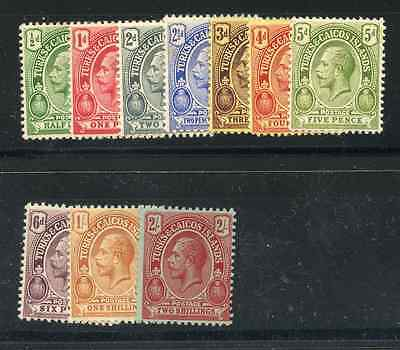 TURKS & CAICOS IS 1913-21 ½d to 2/- wmk MCA mint hinged. SG 129-38. Cat £41.