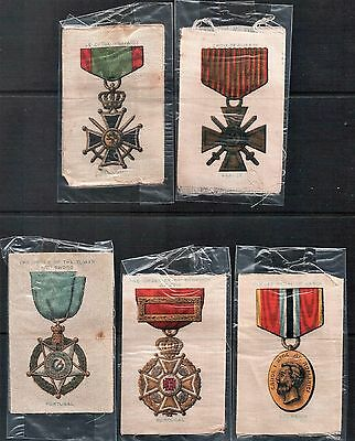 Lot of 5 Vintage Cigarette Silk Trading Cards Military Medals Europe