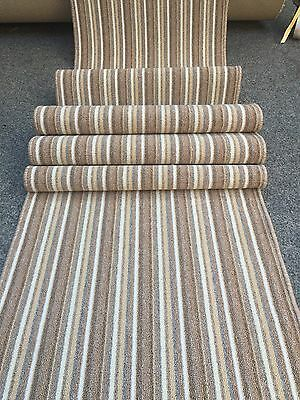 Any Length .. Washable Berber Carpet Runner , Beige Stripe , Stairs Hall Kitchen