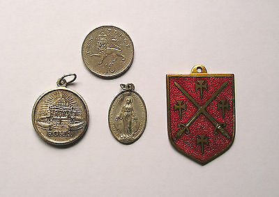 3 religious medals or fobs 1 St Pauls London coat of arms