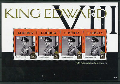 Liberia 2011 MNH King Edward VIII Abdication 75th Anniv 4v M/S Royalty Stamps